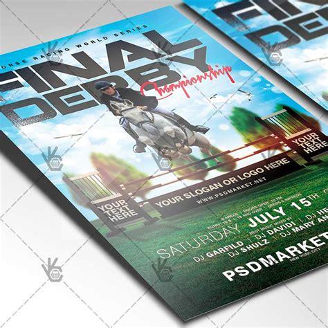 leaflet design derby derby horse racing premium flyer psd template psdmarket