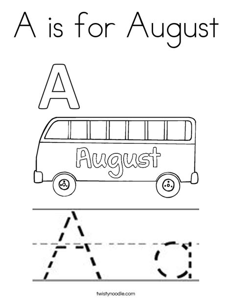 a is for august coloring page twisty noodle