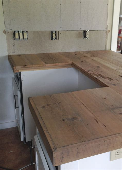 Wood Countertop by Diy Reclaimed Wood Countertop Averie Diy Reclaimed