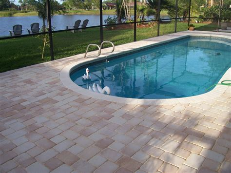 paver brick pool deck with brown concrete and pavers pool pavers remodel your pool deck with pavers from