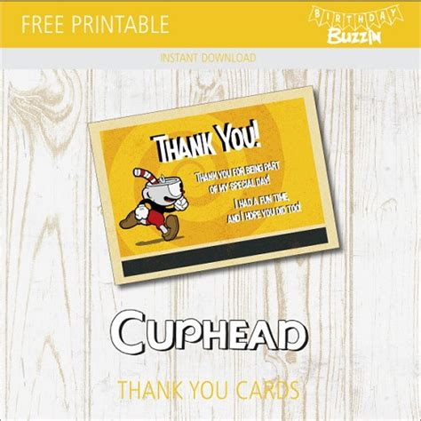 Cuphead Template Card by Free Printable Cuphead Thank You Cards Birthday Buzzin