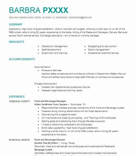 Resume F B by Food And Beverage Resume Resume