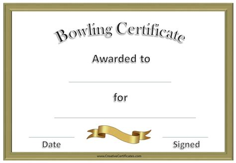 bowling certificate template free bowling certificate template