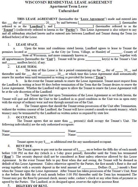 Renters Credit Form Wisconsin Wisconsin Residential Tenancy Lease Agreement Wisconsin Rental Agreement