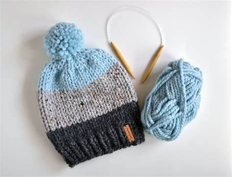 how to block a knitted hat knitted color block beanie with pom pom chunky