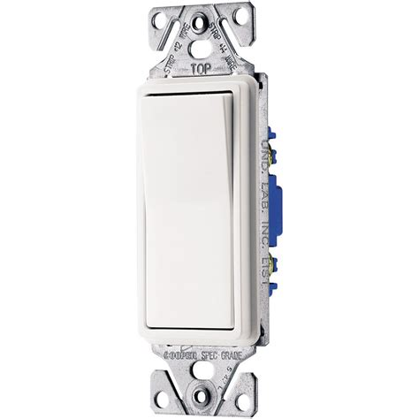 shop eaton single pole 3 way white push light switch at