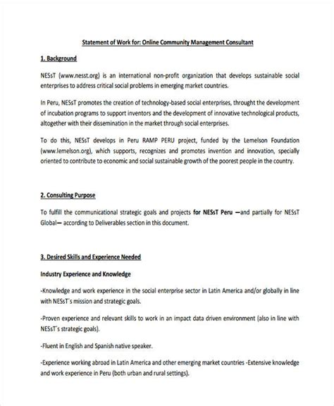 statement of work template consulting 29 statement of work exles sles