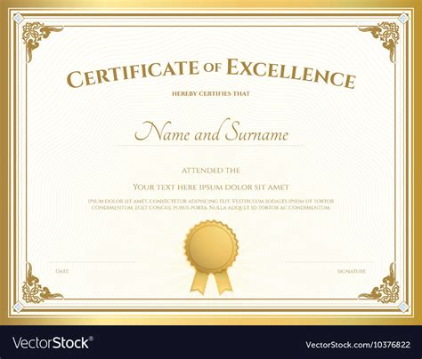 Certificate Of Excellence Template Gold Theme Vector Image Free Certificate Of Excellence Template