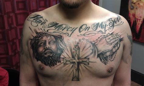 tattoo of cross on chest lettering tattoos headless custom tattoos shop
