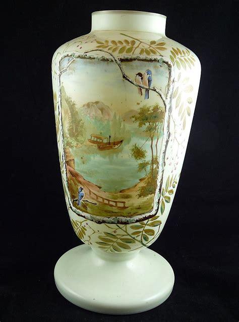 Victorian Glass Vase Large Victorian Hand Painted Bristol Glass Vase Bristol