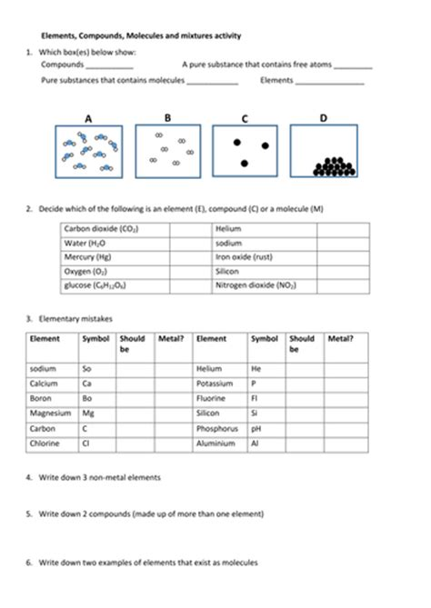 Element Compound And Mixture Worksheet by States Of Matter Worksheets Elements Compounds Molecules