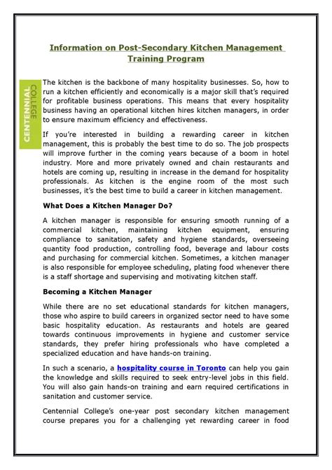 Kitchen Manager Course Information On Post Secondary Kitchen Management