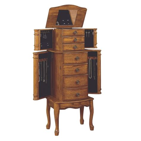 oak armoire dresser powell furniture woodland oak jewelry armoire