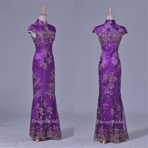 Qipao Bag Qp A 2 qipao black purple lace sequin embroidery dress vintage