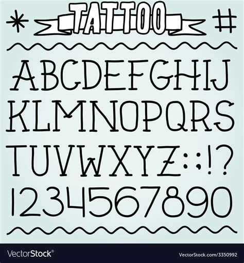 tattoo fonts vector school font royalty free vector image