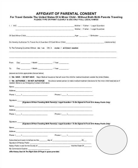 parental consent form template travel affidavit form template