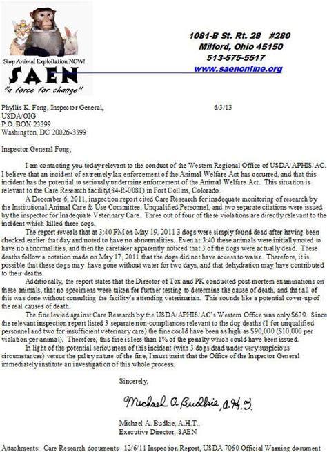 Complaint Letter For Piggery Care Research Wellington Co Oig Complaint Letter 3 Jun 2013 Colorado Facility Reports