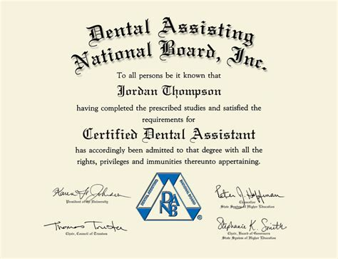 dental assisting national board inc silver medallion