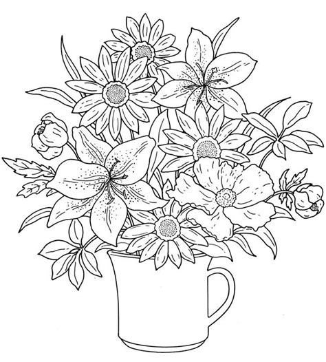 detailed coloring pages for adults flowers flower bouquet coloring pages colouring adult detailed