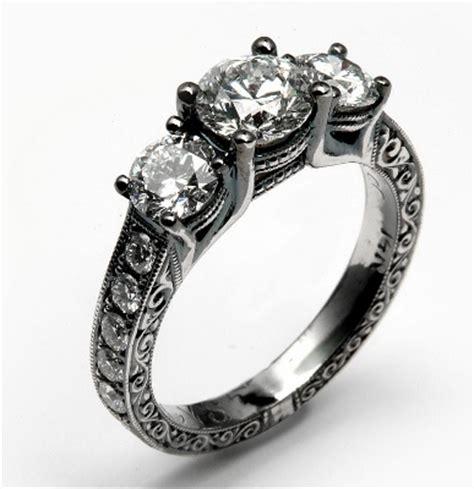 engagement ring with black rhodium finish