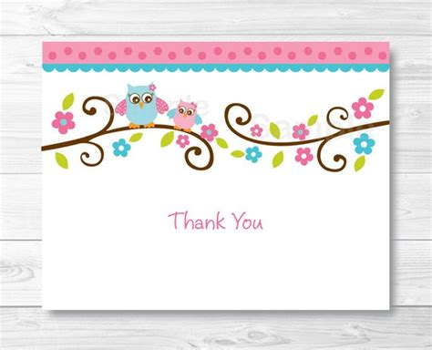 Pink Owl Thank You Card Folded Card Template Owl Baby Thank You Card Template For
