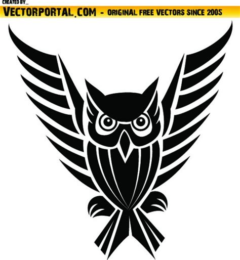 tribal owl with long wings vector free download