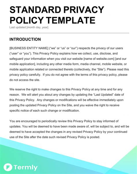 data privacy policy template free privacy policy templates website mobile fb app