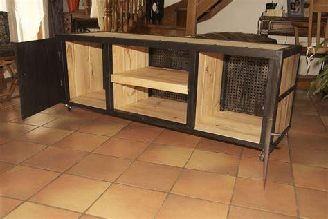 meuble bas fer et bois style industriel meubles et