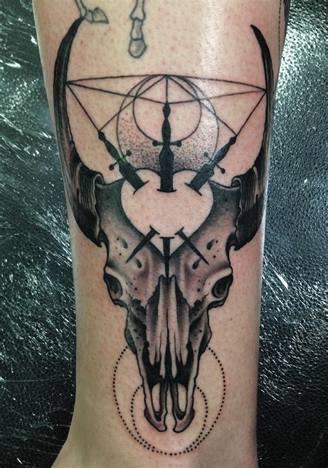 black and grey deer tattoo mark lonsdale tattoo sydney bondi bull skull linework