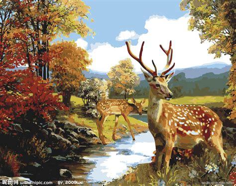 bob ross painting deer 梅花鹿设计图 绘画书法 文化艺术 设计图库 昵图网nipic