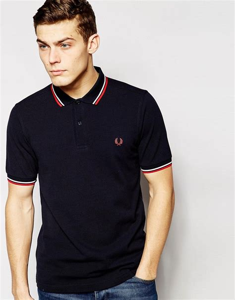 fred perry twin tipped fred perry inky blue girl polo slim fit twin tipped polo shirt in navy blue fred