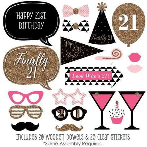 printable photo booth props for 21st birthday 20 piece happy 21st birthday costumes weddings parties