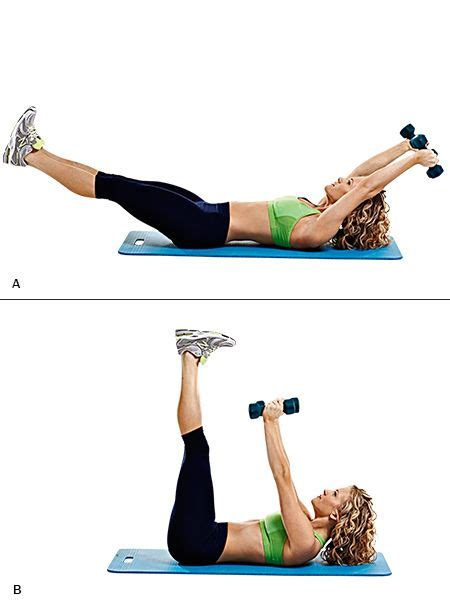 stomach workout arm pullover leg crunch a grab a pair of 4 5kg to 5kg dumbbells and