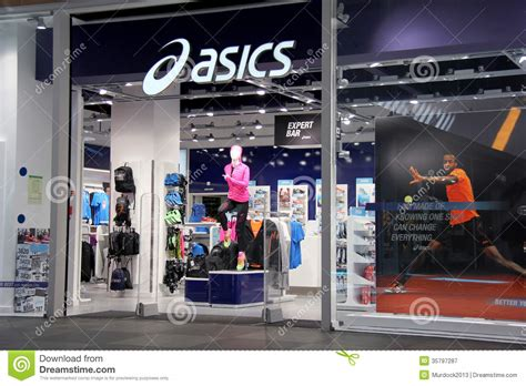sport shoes store asics store front editorial photography image of foot