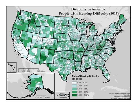map of the united states broken down into regions rates of hearing difficulty disability in america map