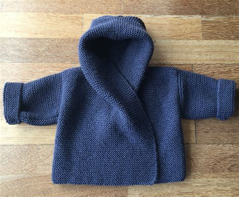 free knitting pattern for baby hooded jacket garter stitch one knitting patterns in the loop