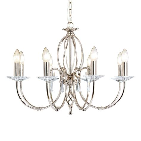 Chandelier In Polished Nickel With Cut Glass Droplets Chandelier Droplets