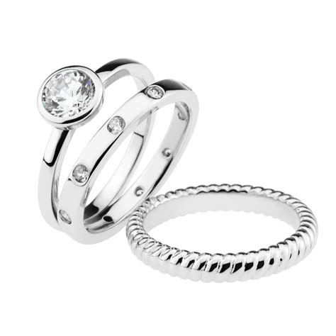 gemour sterling silver cubic zirconia three stackable ring