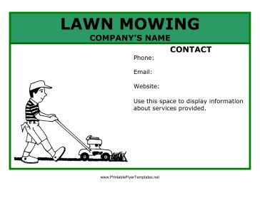 free printable lawncare card templates lawn mowing flyer