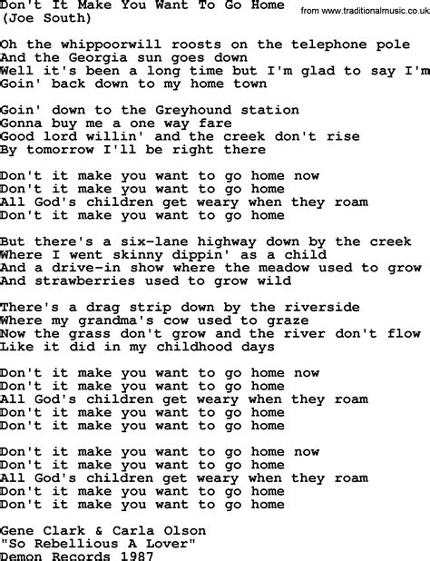 don t it make you want to go home by the byrds lyrics