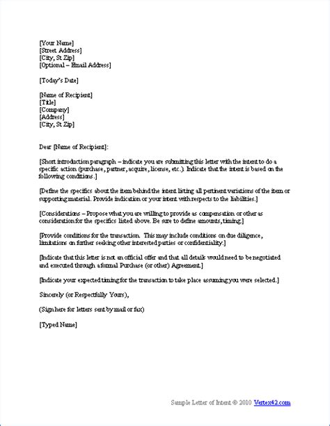 Letter Of Intent Template Uk free letter of intent template sle letters of intent