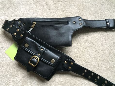 two pockets vegan leather belt