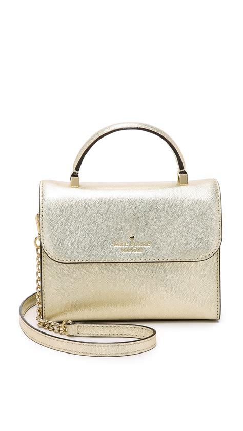 Kate Spade Gold Preloved lyst kate spade new york mini nora cross bag gold in metallic