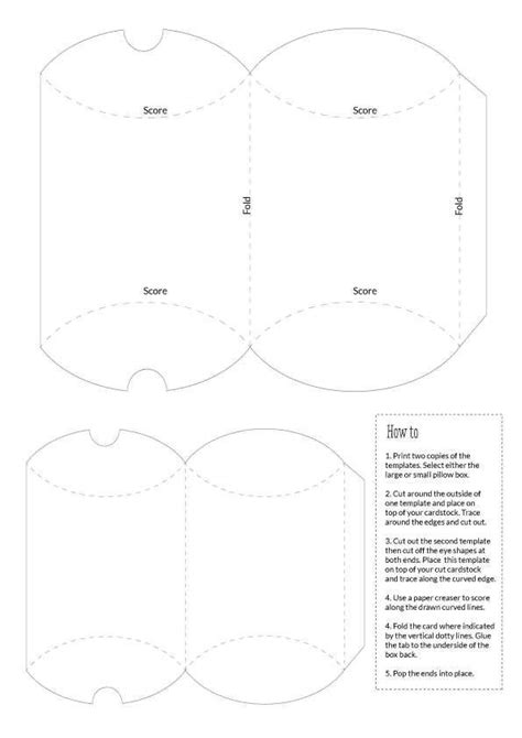 Pillow Box Templates Large And Small Templates Boxes And Bags Pinterest Pillow Box Large Pillow Box Template