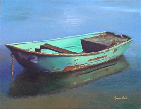 green boat pictures old green boat on calm water painting by emma bell