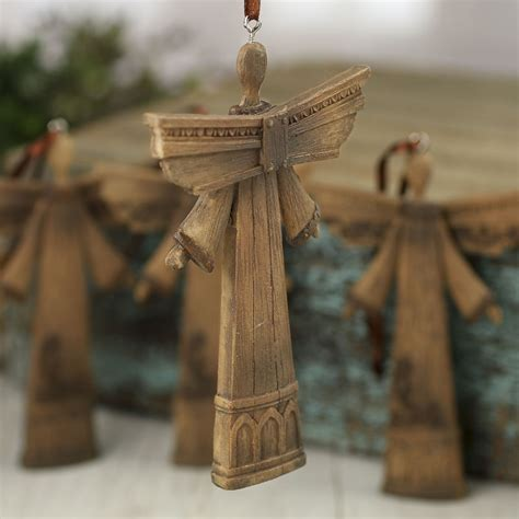 rustic faux wood angel ornaments christmas ornaments