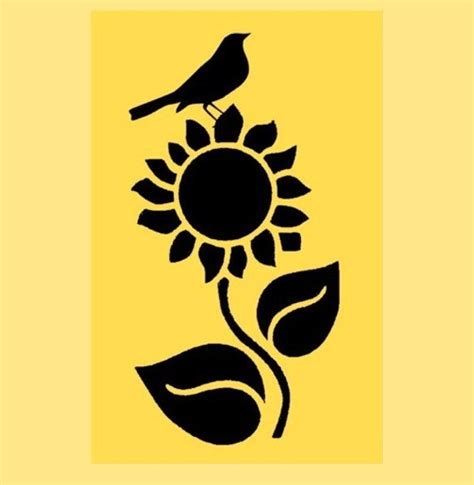 stencil sunflower with crow 10x5 by artisticstencils on etsy