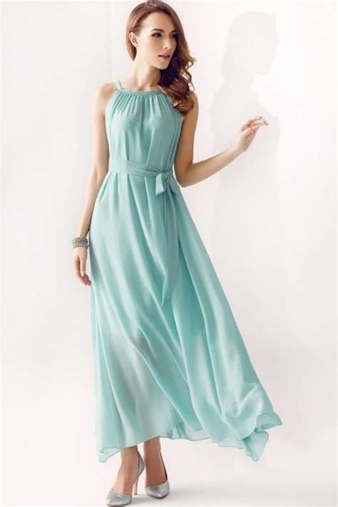 and flowy flowy mint bridesmaid dress with a halter neck onewed