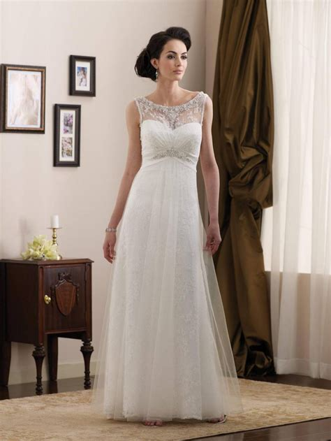Informal Wedding Dresses by Simple Beaded Lace Satin Length A Line Informal