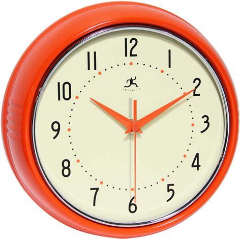 infinity retro wall clock the retro orange wall clock by infinity instruments